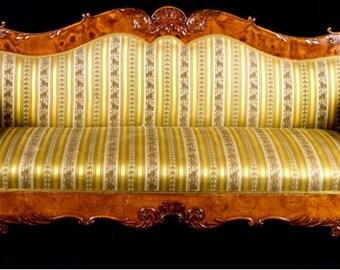 Rare Highly Carved Swedish Antique Biedermeier Sofa