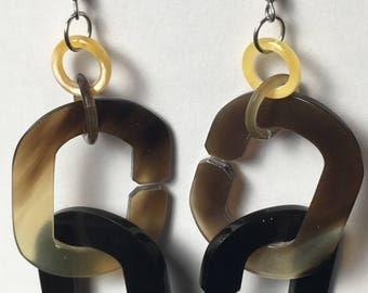Linked Horn rings Earrings
