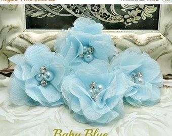 25% SALE 4 BABY BLUE Audrey Chiffon Flowers Dainty Soft Chiffon Flowers W/ Pearls & Rhinestones Mesh Layered Small Fabric Flowers Hair acces