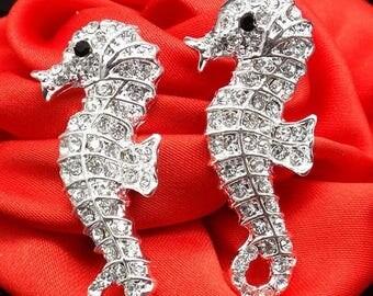 20% SALE Rhinestone Seahorse Flat Backs Set In Silver Metal Rhinestone Flat Backs Embellishments Bridal Accents Beach Weddings Ocean Fish 13