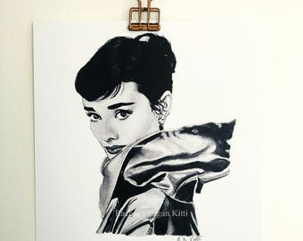 Audrey Hepburn, Actress, Old Hollywood, funny face, breakfast at tiffany's, black and white, portrait, fine art print, art print, ink,
