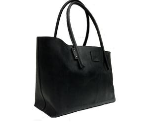 Leather bag Black/Shopper used look leather/shopper vintage design/Leather black/Big shopper/leather bag handmade