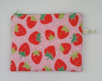 pouch or bag down and doubled Strawberry handmade clutch