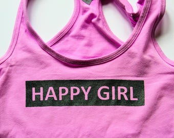 HAPPY GIRL.  Handmade Happy Fit Tank