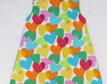 tunic dress child multicolored hearts