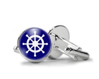 Helm Cufflinks Ship Wheel Cufflinks PM-512