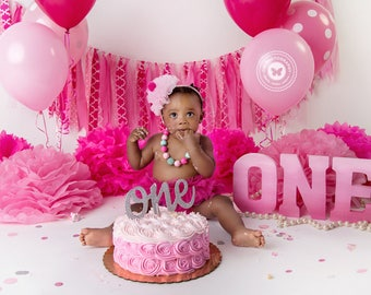 Princess Pink Party, Pink Decorations, First Birthday, ONE Letters, 1st Birthday, Pink, Glitter