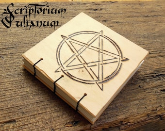 Small pentacle journal, pentagram notebook, wooden journal,book of shadows, grimoire, Wicca, witchcraft, pagan gift, witch gift, Imbolc gift