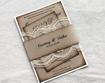 Rustic wedding invitations lace wedding invitations barn wedding wedding stationary rustic wedding invites with lace, barn wedding, country