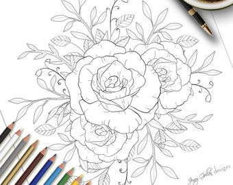 Printable Colouring Page Floral Study