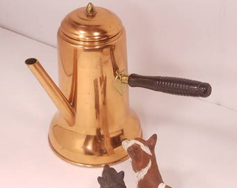 Vintage Copper Turkish Coffee Pitcher, by CopperCraft Guild, Taunton, Mass, Excellent Condition