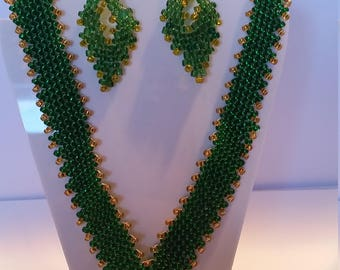 Russian leaf Green and Gold Beaded Set