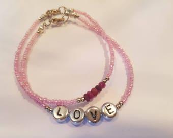 Personalised Double Ruby Bracelets