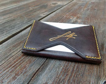 Mini Leather Wallet - Handcraftet Mens Minimalist Travel Brown With Coin Pouch Wallet