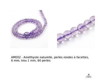 Améthyste naturelle, perles rondes à facettes, 6 mm, trou 1 mm, 60 perles (APS-PH- G-E250-16-améthyste-facette)