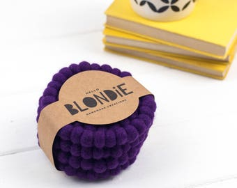 Purple Felt Ball Coaster Gift Set