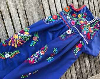 Mexican Dress, Girls' Puebla Dress, Fiesta Dress Size 6