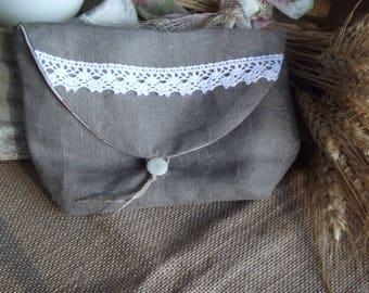 Pouch makeup pure chocolate linen and white lace, lining in gray with hearts and flowers