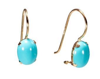 14K Yellow Gold Turquoise Earrings - 14K Gold Earrings - Gold Drop Earrings - Turquoise Earrings - 14K Yellow Gold Earrings - Natural Oval