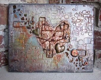 Industrial Art Mixed Media Assemblage Art Heart Art With Hearts Bronze Copper Rust Rustic Art OOAK Original B179