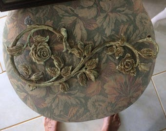 REDUCED!  Antique Salvaged Chandelier Arm, Cast Iron, Roses Leaves, Hand