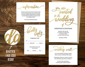 Golden Wedding Invitation Printable Suite, Customisable DIY Wedding Invite Set, Faux Gold Glitter Sparkles, Wishing well, Rsvp Details Card
