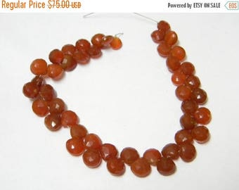 8 inch strand-- 6 - 8 mm approx-- Orange Chalcedony Faceted Heart Briolettes