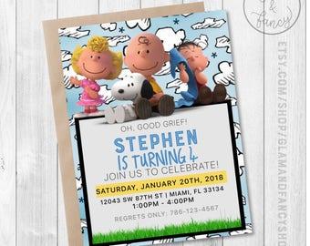Snoopy Peanuts Birthday DIGITAL Invitation