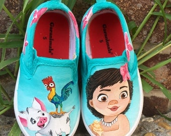 Baby moana painted shoes