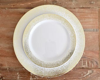 White Pop, Clink, Fizz Collection.  Modern Gold or Silver and White Party Plates. Disposable Wedding Plates. Disposable Party Plates.