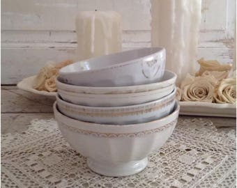 Instant Collection Set of 4 Antique French Ironstone Cafe Au Lait Bowls