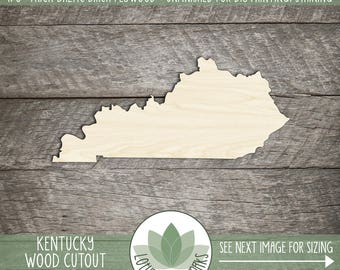 Kentucky Wood Cutout, Laser Cut Wooden Kentucky Shape, Wood State Shapes For DIY Projects, State Wedding Favor