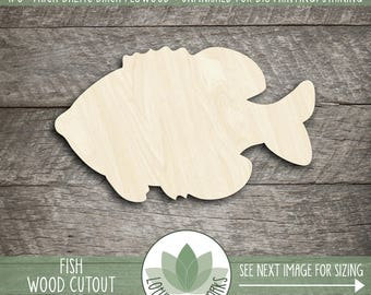 Wood Fish Shape, Unfinished Wood Fish Laser Cut Shape, DIY Craft Supply, Many Size Options