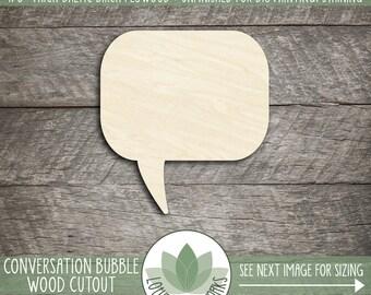 Wood Conversation Bubble, Cutout Craft Shapes, DIY Craft Supply, Many Size Options