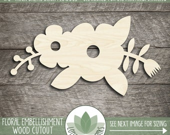 Wood Floral Embellishment Cutout, Wooden Flower Shape, Blank Unfinished Wood Shapes For DIY Projects, Many Sizes, Wood Sign Supplies, Flower