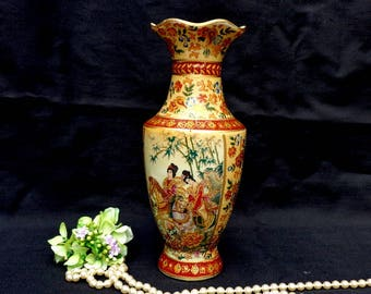 Vintage Chinese Porcelain Vase Antique Hand painted vase Collectible Decorated multicolor vase Antique gift