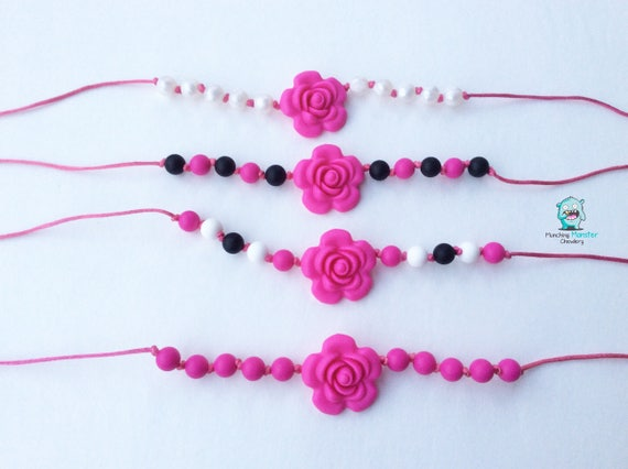 Rose Child's Necklace, chewable necklace, sensory necklace, ASD, SPD, ADHD, silicone beads