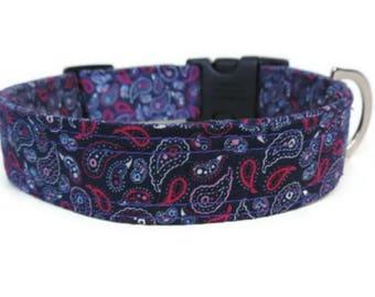 Purple Paisley Fabric Dog Collar, Adjustable Dog Collar, Made In The UK, All Sizes, Large Dog Collar,