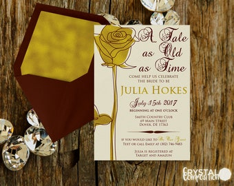 Fairytale Beauty and the Beast Bridal Shower Invitation Printable