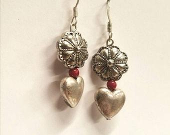 Silver heart and flower earrings