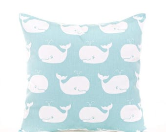 SALE ENDS SOON Boys Pillow Covers, Canal Blue Whale Pillow, Whales Pillowcase, Baby Blue Nursery Throw Pillows, Blue and White Nursery Decor