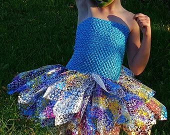 Turquoise Peacock 2 to 5 years with strapless tutu dress