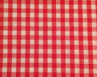 Cute Red and White Gingham Cotton