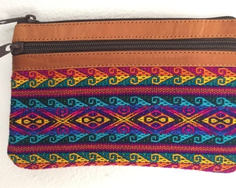 Suede Leather and cotton print coin purse