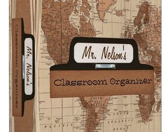 Personalize - Antique Map Teacher Organizer Binder