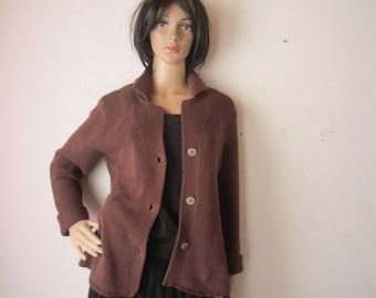 Vintage cardigan Knit Jacket Niceconnection cotton S/meter