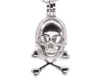 Skull cage pendant, sterling 925 silver cage, sterling skull charm, pearl cage pendant, pearl skull necklace, wish pearl cage F3110-P