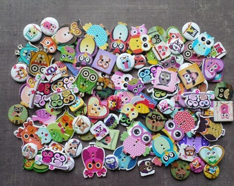 30 buttons wood colors shapes sizes Mix OWL bird Theme