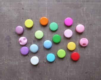 40 mix color flat round buttons shiny hole 1.2 cm back