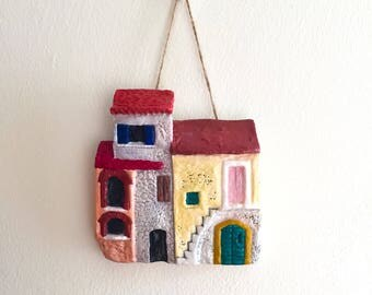 Clay Wall Hanging Ceramic Art, Colourful Italian Village Houses, Home Decor, Wall Art, Housewarming Gift OOAK